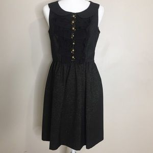 Kensie Black and Gold Metallic Sleeveless Dress